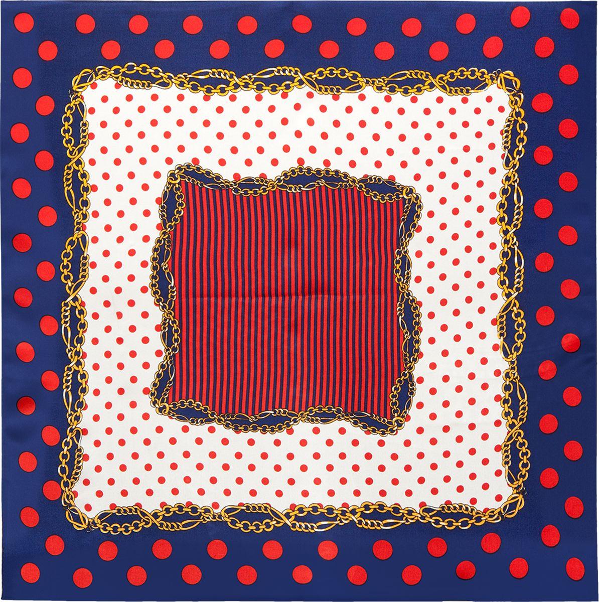 Платок женский Eleganzza, цвет: синий, красный. SS03-7878. Размер 53 см х 53 смSS03-7878Платок Eleganzza выполнен из шелка. Модель оформлена контрастным принтом. Классическая квадратная форма позволяет носить платок на шее, украшать им прическу или декорировать сумочку.