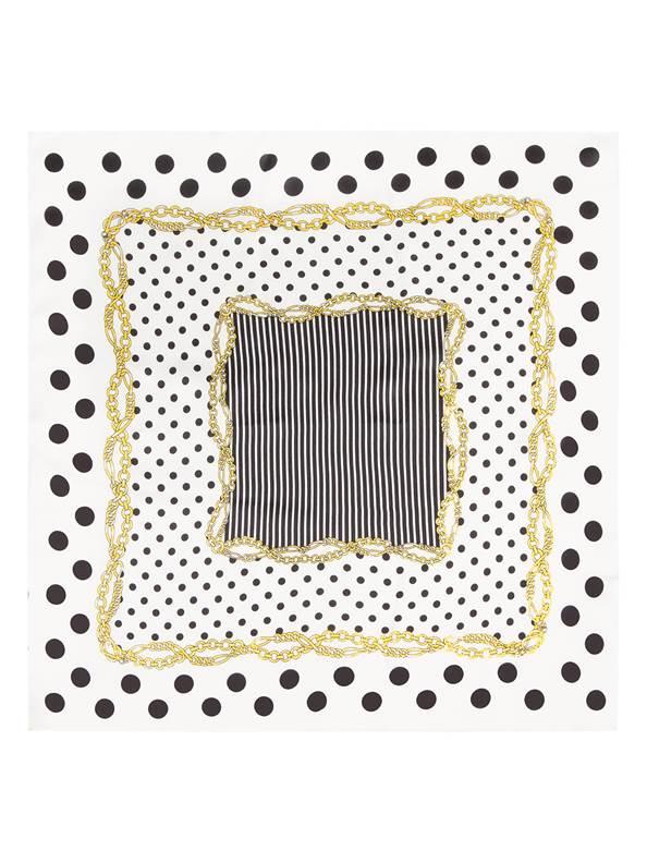 Платок женский Eleganzza, цвет: белый. SS03-7878. Размер 53 см х 53 смSS03-7878Платок Eleganzza выполнен из шелка. Модель оформлена контрастным принтом. Классическая квадратная форма позволяет носить платок на шее, украшать им прическу или декорировать сумочку.