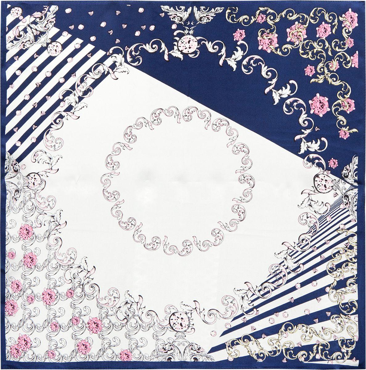 Платок женский Eleganzza, цвет: синий. SS03-7880. Размер 53 см х 53 смSS03-7880Платок Eleganzza изготовлен из шелка. Модель оформлена контрастным принтом. Использование такого стильного аксессуара позволит создать несколько образов и настроений.