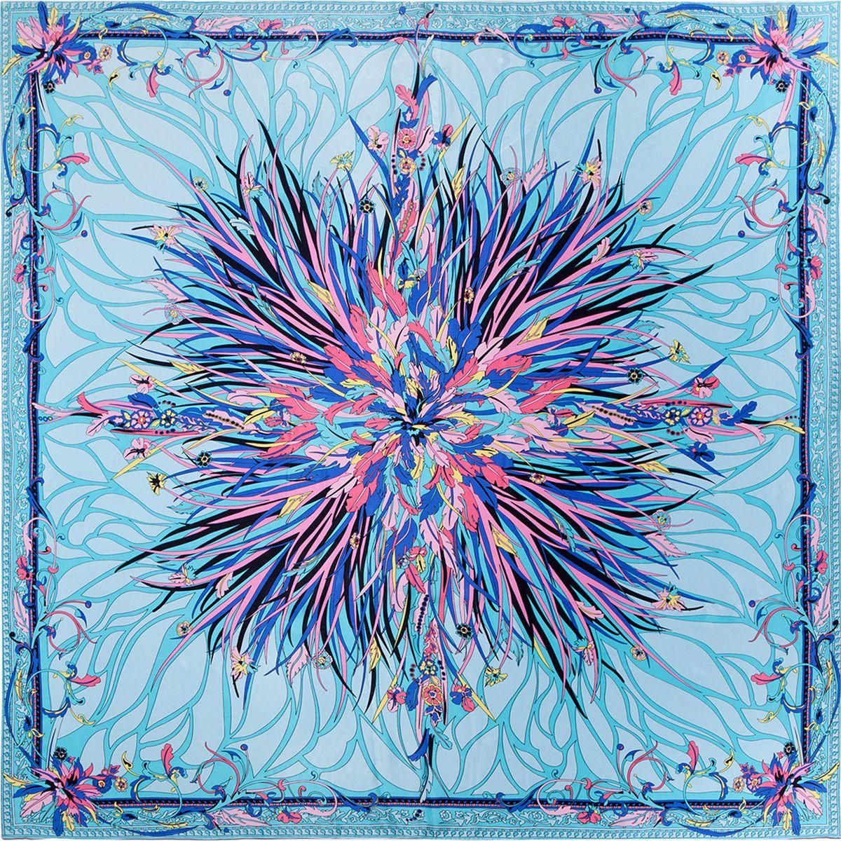 Платок женский Eleganzza, цвет: голубой. SS03-7923. Размер 110 см х 110 смSS03-7923Платок Eleganzza выполнен из шелка с ручным типом подгибки. Модель оформлена принтом.Классическая квадратная форма позволяет носить платок на шее, украшать им прическу или декорировать сумочку.