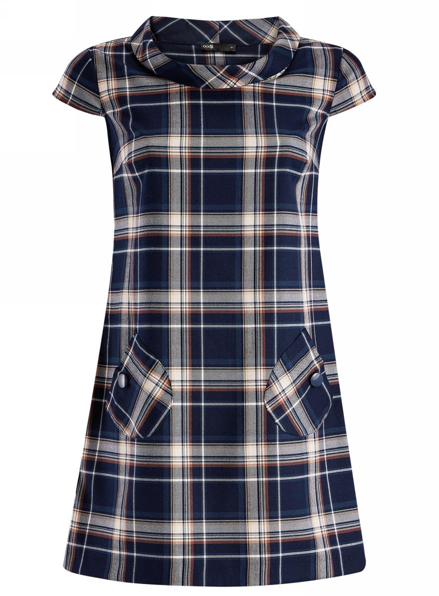 Платье oodji Ultra, цвет: темно-синий, темно-бежевый. 11910058-2/37812/7935C. Размер 38-170 (44-170)11910058-2/37812/7935CОригинальное платье А-силуэтаoodji Ultraвыполнено из качественного трикотажа с принтом в крупную клетку. Модель мини-длины с короткими рукавами и воротником-хомутомдополнена двумя накладными кармашками с декоративными пуговицами.