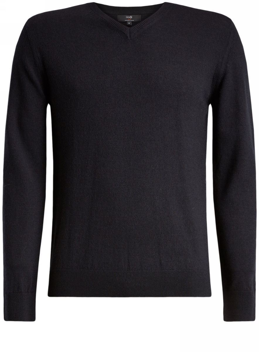 Пуловер мужской oodji Lab, цвет: черный. 4L214005M/44359N/2900N. Размер XXL (58/60)4L214005M/44359N/2900NПуловер базовый из шерсти мериноса