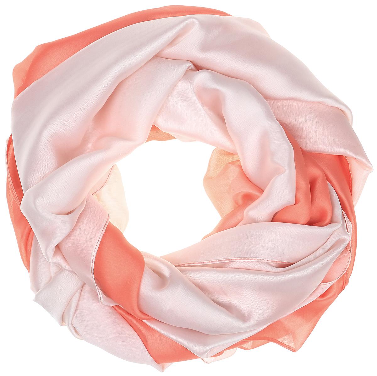 Палантин Vita Pelle, цвет: персиковый, светло-розовый. Ro02PG1637/12. Размер 90 см х 180 смRo02PG1637/12Палантин от Vita Pelle изготовлен из шелка с добавлением полиэстера и рами. Модель оформлена градиентным переходом и тонкой подгибкой по краям.