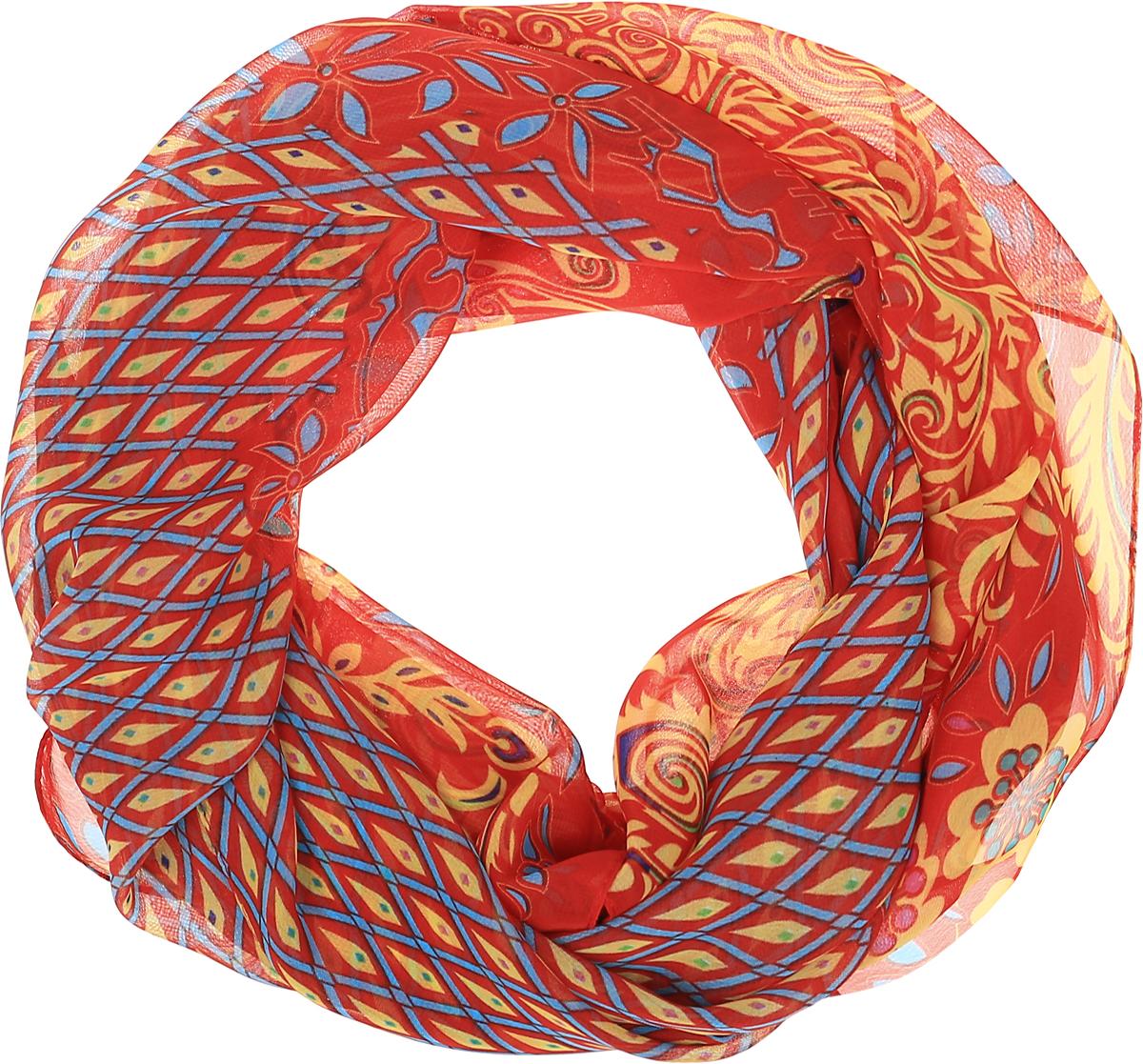 Палантин Sophie Ramage, цвет: красный, мультицвет. YY-11708-22. Размер 50 см х 160 смYY-11708-22Палантин от Sophie Ramage изготовлен из шелка и полиэстера. Модель оформлена узорным принтом и тонкой подгибкой по краям.
