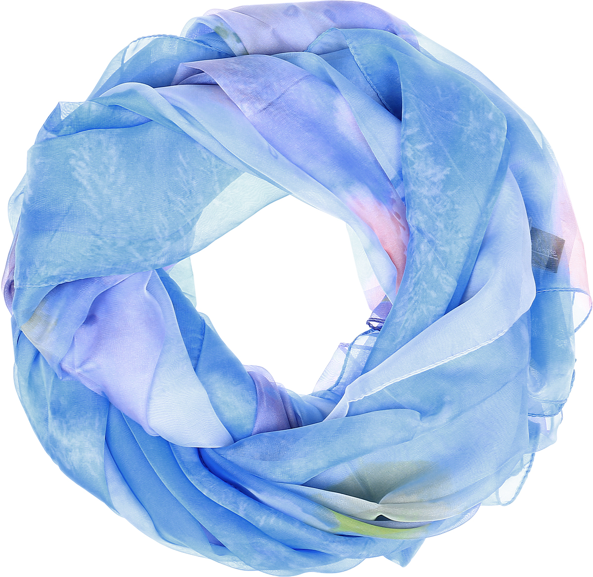 Палантин Sophie Ramage, цвет: голубой, мультицвет. QA-11729-4. Размер 145 см х 180 смQA-11729-4Палантин от Sophie Ramage изготовлен из шелка с добавлением полиэстера, оформлен акварельным принтом. Кромка обработана подгибкой.