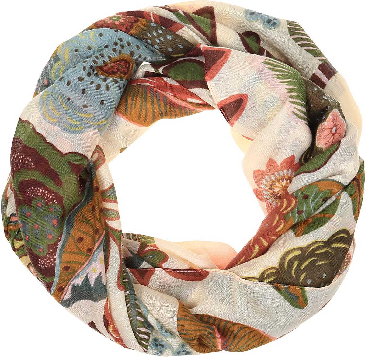 Палантин Sophie Ramage, цвет: бежевый, коричневый, зеленый. YY-11714-68. Размер 105 см х 180 смYY-11714-68Палантин от Sophie Ramage изготовлен из шелка с добавлением полиэстера, оформлен оригинальным принтом. Кромка обработана подгибкой и осыпкой.