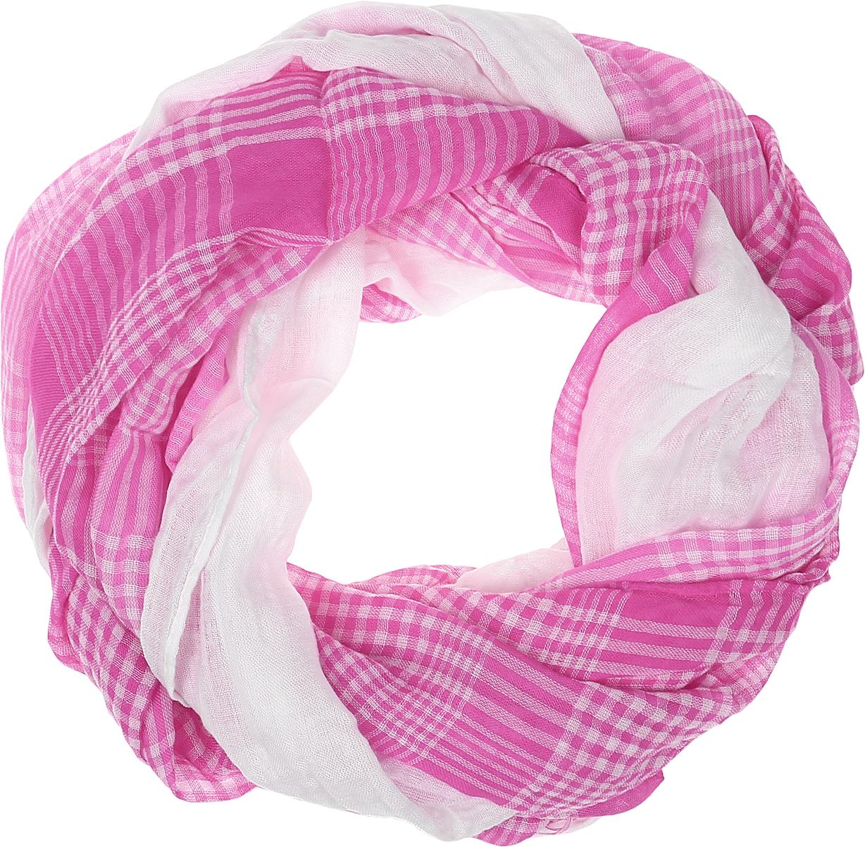 Палантин женский Vita Pelle, цвет: розовый, белый. Ro02PG1624/6. Размер 90 см х 180 смRo02PG1624/6Легкий палантин Vita Pelle изготовлен из вискозы с добавлением полиэстера. Палантин оформлен принтом в клетку, по краям дополнен бахромой.