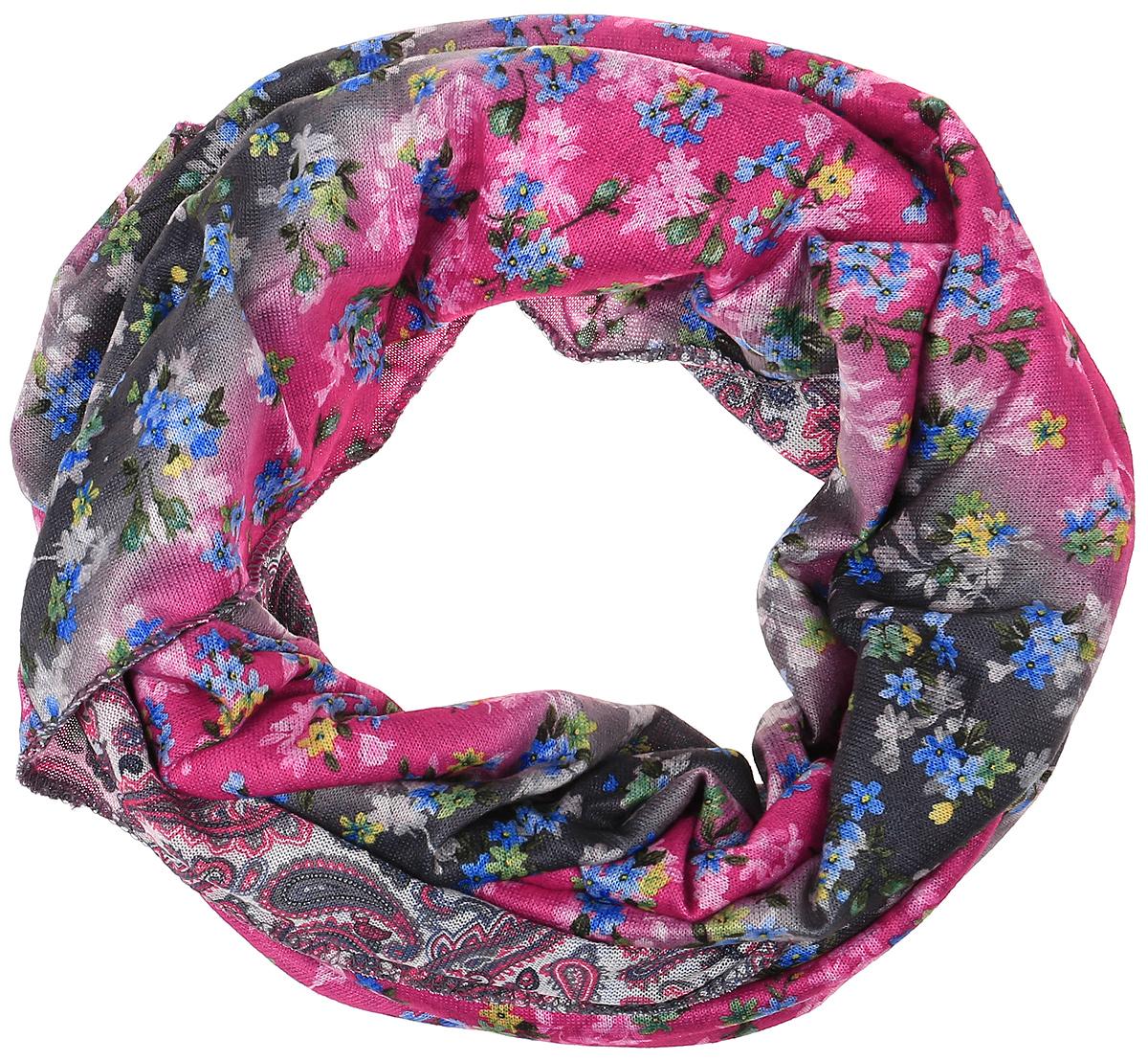 Снуд-хомут женский Vita Pelle, цвет: голубой, розовый. Ro01R2359-A3870-2. Размер 45 см х 70 смRo01R2359-A3870-2Легкий снуд-хомут от Vita Pelle выполнен из двустороннего трикотажного полотна и оформлен цветочным принтом. Кромка обработана оверлоком.
