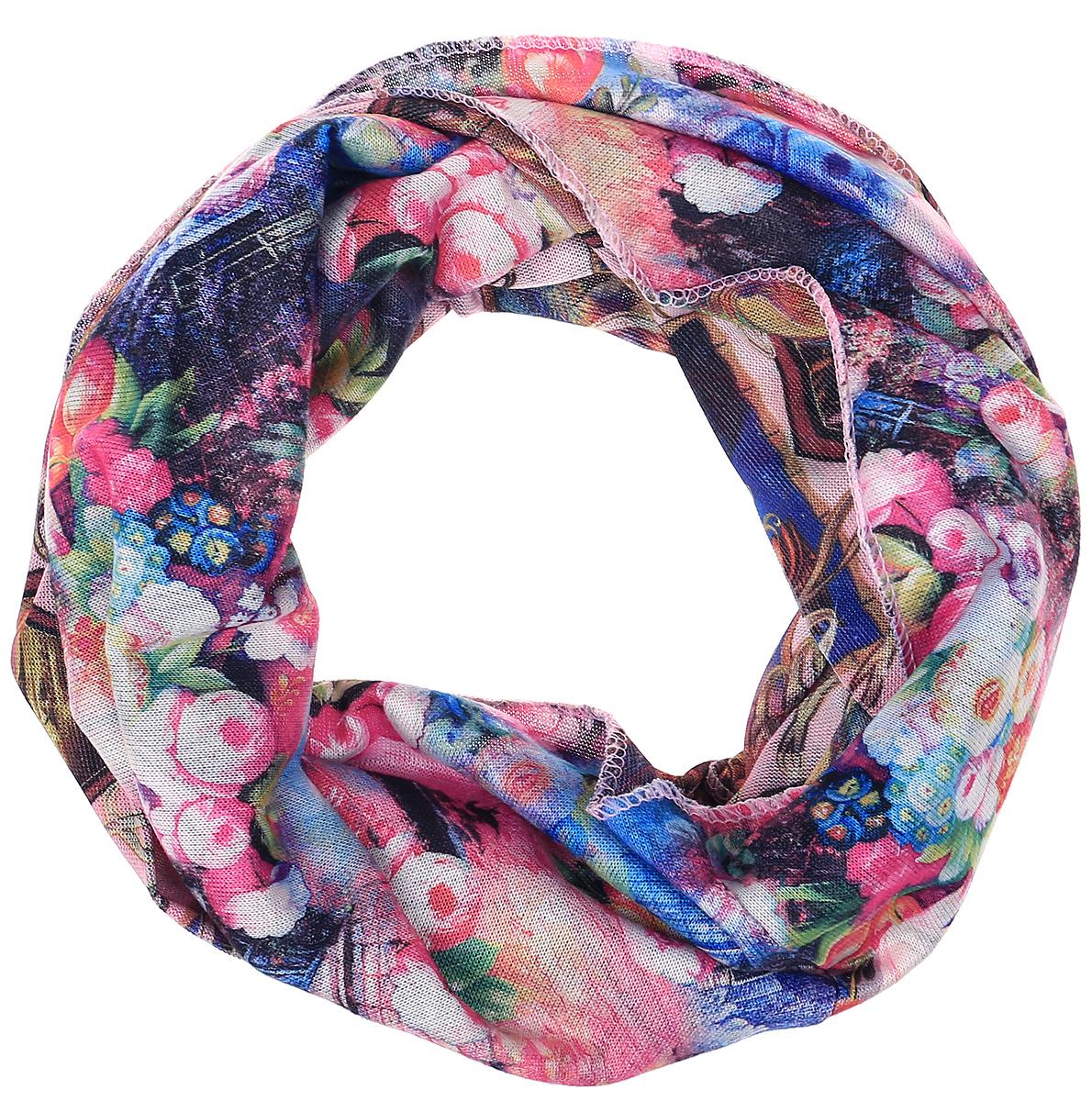 Снуд-хомут женский Vita Pelle, цвет: голубой, розовый. Ro01R2359-A3757-2. Размер 45 см х 70 смRo01R2359-A3757-2Легкий снуд-хомут от Vita Pelle выполнен из двустороннего трикотажного полотна и оформлен цветочным принтом. Кромка обработана оверлоком.