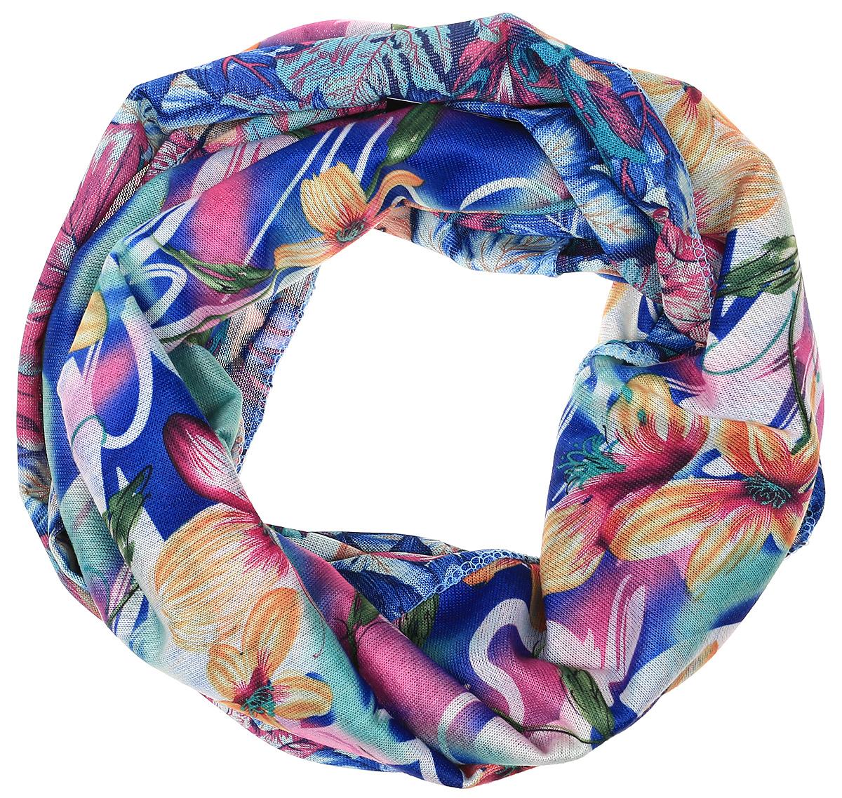 Снуд-хомут женский Vita Pelle, цвет: синий, оранжевый. Ro01R2359-A3795-1. Размер 45 см х 70 смRo01R2359-A3795-1Легкий снуд-хомут от Vita Pelle выполнен из двустороннего трикотажного полотна и оформлен цветочным принтом. Кромка обработана оверлоком.