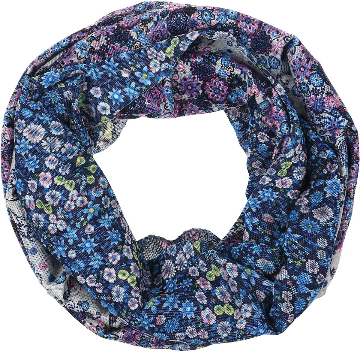 Снуд-хомут женский Vita Pelle, цвет: голубой, сиреневый. Ro01R2359-A4052-1. Размер 45 см х 70 смRo01R2359-A4052-1Легкий снуд-хомут от Vita Pelle выполнен из двустороннего трикотажного полотна и оформлен оригинальным принтом. Кромка обработана оверлоком.