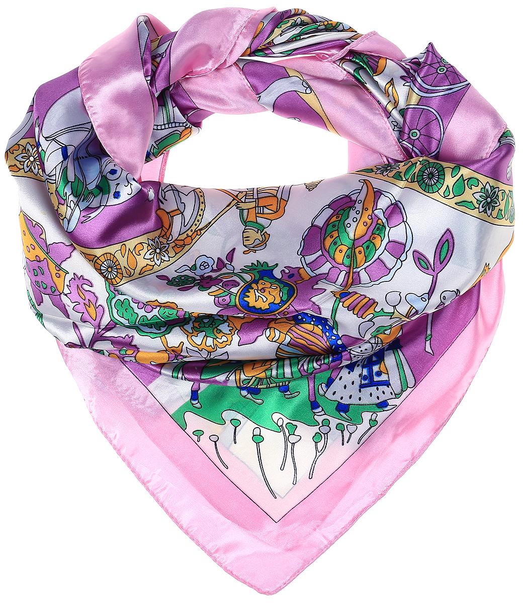 Платок женский Vittorio Richi, цвет: фиолетовый, белый. Ro01HS1602-7-1. Размер 100 см х 100 смRo01HS1602-7-1Платок от Vittorio Richi изготовлен из полиэстера с добавлением шелка, оформлен узорным принтом. Кромка обработана подрубкой.