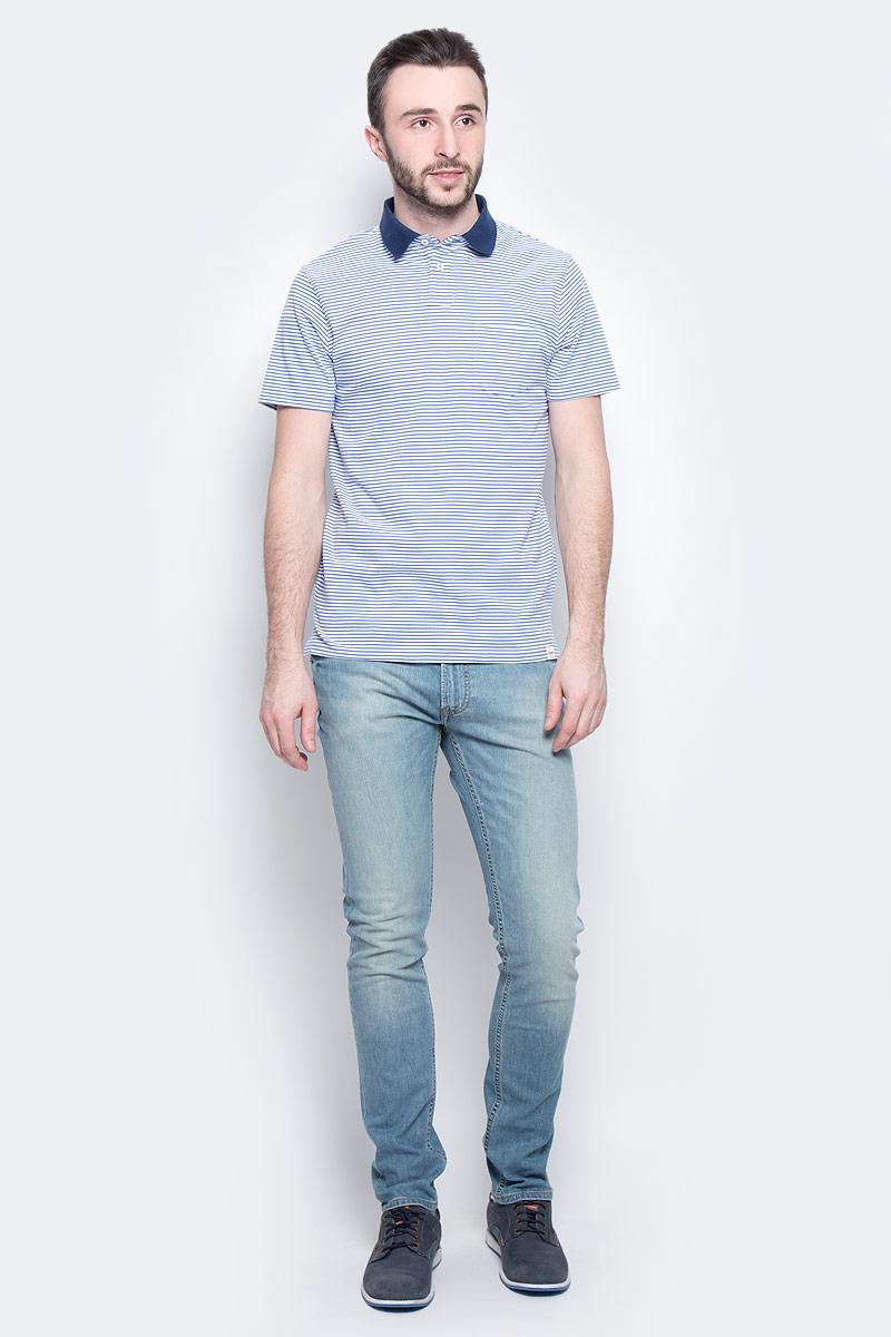 Поло мужское Lee Striped Polo, цвет: синий, белый. L60UQUSF. Размер L (50)L60UQUSFМужское поло Lee Striped Polo изготовлено из натурального хлопка. Модель в полоску с короткими рукавами и отложным воротником застегивается спереди на две пуговицы. На груди расположен накладной карман, по бокам поло дополнено небольшими разрезами.