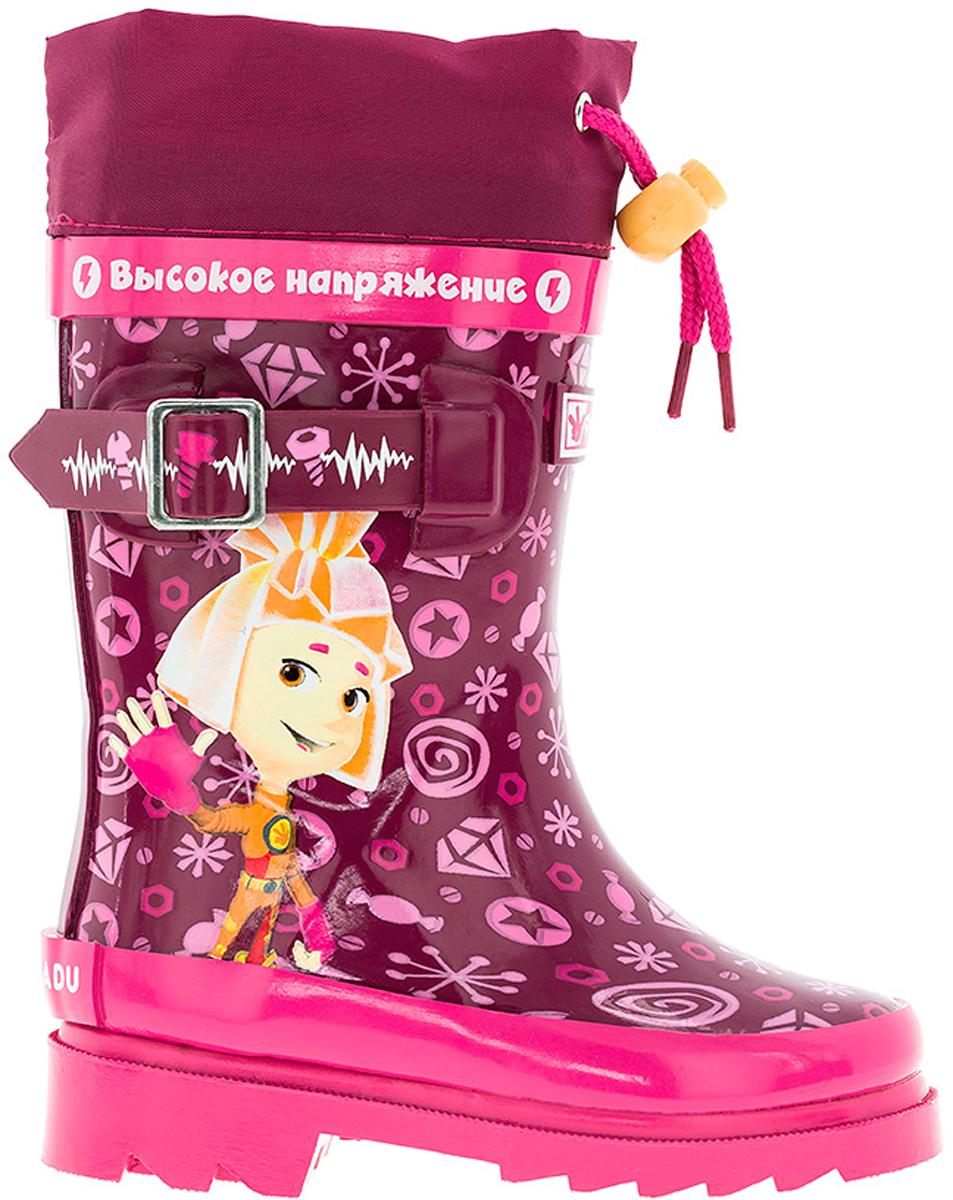 Сапоги резиновые для девочки Kakadu Fixiki, цвет: бордовый, розовый. 6686A. Размер 256686AМодные резиновые сапоги от Kakadu - идеальная обувь в дождливую погоду для вашей девочки. Модель оформлена красочным принтом с изображением персонажей мультсериала Фиксики, дополнена текстильной манжетой на кулиске для регулировки объема голенища, а также декоративным ремешком. Внутренняя поверхность и стелька из текстиля способствуют поддержанию тепла и комфортны при ходьбе. Подошва с протектором гарантирует отличное сцепление с любой поверхностью. Резиновые сапоги - необходимая вещь в гардеробе каждого ребенка.