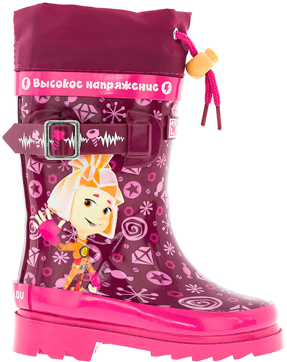 Сапоги резиновые для девочки Kakadu Fixiki, цвет: бордовый, розовый. 6686AA. Размер 266686AAМодные резиновые сапоги от Kakadu - идеальная обувь в дождливую погоду для вашей девочки. Модель оформлена красочным принтом с изображением персонажей мультсериала Фиксики, дополнена текстильной манжетой на кулиске для регулировки объема голенища, а также декоративным ремешком. Внутренняя поверхность и стелька из текстиля и байки способствуют поддержанию тепла и комфортны при ходьбе. Подошва с протектором гарантирует отличное сцепление с любой поверхностью. Резиновые сапоги - необходимая вещь в гардеробе каждого ребенка.