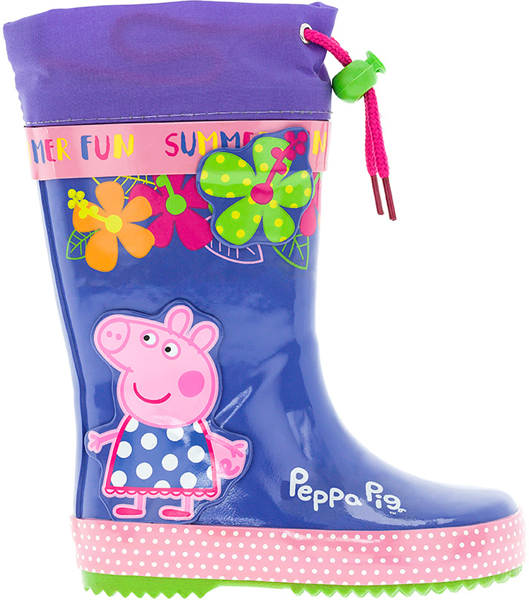 Сапоги резиновые для девочки Kakadu Peppa Pig, цвет: фиолетовый, синий, розовый. 6690CC. Размер 246690CCМодные резиновые сапоги от Kakadu - идеальная обувь в дождливую погоду для вашей девочки. Модель оформлена красочным принтом с изображением цветов и Свинки Пеппы и дополнена текстильной манжетой на кулиске для регулировки объема голенища. Внутренняя поверхность из байки с текстилем и съемная стелька способствуют поддержанию тепла и комфортны при ходьбе. Подошва с протектором гарантирует отличное сцепление с любой поверхностью. Резиновые сапоги - необходимая вещь в гардеробе каждого ребенка.