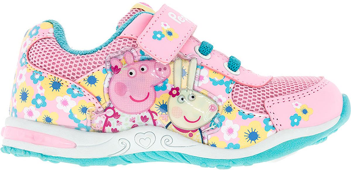 Кроссовки для девочки Kakadu Peppa Pig, цвет: белый, розовый, голубой. 6743C. Размер 266743CСтильные кроссовки Peppa Pig от Kakadu - отличный выбор для вашей малышки на каждый день. Верх модели выполнен из синтетической кожи и текстиля. Кроссовки оформлены красочным орнаментом и нашивками с изображением персонажей мультсериала Свинка Пеппа. Классическая шнуровка и ремешок на застежке-липучке обеспечивают надежную фиксацию обуви на ноге. Подкладка из текстильного материала создает комфорт при носке. Съемная стелька удобна в эксплуатации и позволяет быстро просушивать обувь. Подошва выполнена из амортизирующей термопластичной резины, которая снимает нагрузку с суставов. Светодиодная подсветка подошвы приведет в восторг юную модницу.Рифление на подошве обеспечивает отличное сцепление с любой поверхностью.Модные и комфортные кроссовки - необходимая вещь в гардеробе каждого ребенка.