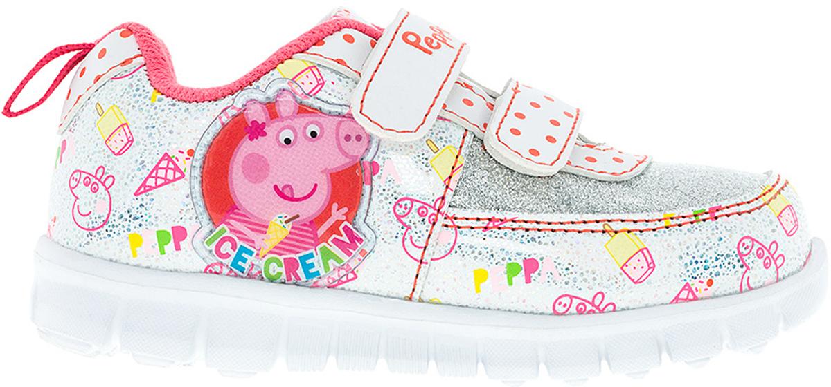 Кроссовки для девочки Kakadu Peppa Pig, цвет: белый, красный. 6746A. Размер 236746AСтильные кроссовки Peppa Pig от Kakadu - отличный выбор для вашей малышки на каждый день. Верх модели выполнен из синтетической кожи. Кроссовки оформлены красочным принтом и нашивками с изображением Свинки Пеппы. Ремешки на застежках-липучках обеспечивают надежную фиксацию обуви на ноге. Подкладка из текстильного материала создает комфорт при носке. Съемная хлопковая стелька удобна в эксплуатации и позволяет быстро просушивать обувь. Облегченная подошва выполнена из ЭВА-материала.Рифление на подошве обеспечивает отличное сцепление с любой поверхностью.Модные и комфортные кроссовки - необходимая вещь в гардеробе каждого ребенка.