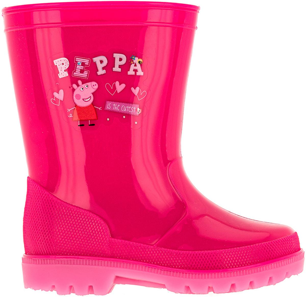 Сапоги резиновые для девочки Kakadu Peppa Pig, цвет: фуксия. 6751A. Размер 276751AМодные резиновые сапоги от Kakadu - идеальная обувь в дождливую погоду для вашей девочки. Модель оформлена принтом с изображением Свинки Пеппы. Внутренняя поверхность и стелька из текстиля способствуют поддержанию тепла и комфортны при ходьбе. Подошва с протектором гарантирует отличное сцепление с любой поверхностью. Резиновые сапоги - необходимая вещь в гардеробе каждого ребенка.