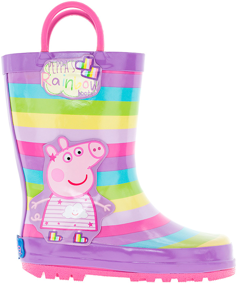 Сапоги резиновые для девочки Kakadu Peppa Pig, цвет: сиреневый, розовый, салатовый. 6752A. Размер 306752AМодные резиновые сапоги от Kakadu - идеальная обувь в дождливую погоду для вашей девочки. Модель оформлена разноцветными полосками и изображением Свинки Пеппы. Для удобства обувания на голенище предусмотрены специальные ручки. Внутренняя поверхность и стелька из текстиля способствуют поддержанию тепла и комфортны при ходьбе. Подошва с протектором гарантирует отличное сцепление с любой поверхностью. Резиновые сапоги - необходимая вещь в гардеробе каждого ребенка.
