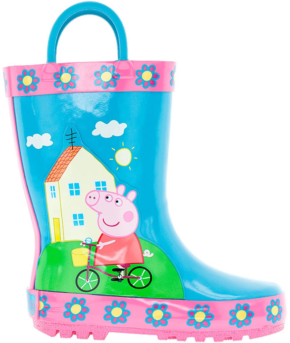 Сапоги резиновые для девочки Kakadu Peppa Pig, цвет: голубой. 6752B. Размер 256752BМодные резиновые сапоги от Kakadu - идеальная обувь в дождливую погоду для вашей девочки. Модель оформлена красочным изображением Свинки Пеппы на велосипеде. Для удобства обувания на голенище предусмотрены специальные ручки. Внутренняя поверхность и стелька из хлопка способствуют поддержанию тепла и комфортны при ходьбе. Подошва с протектором гарантирует отличное сцепление с любой поверхностью. Резиновые сапоги - необходимая вещь в гардеробе каждого ребенка