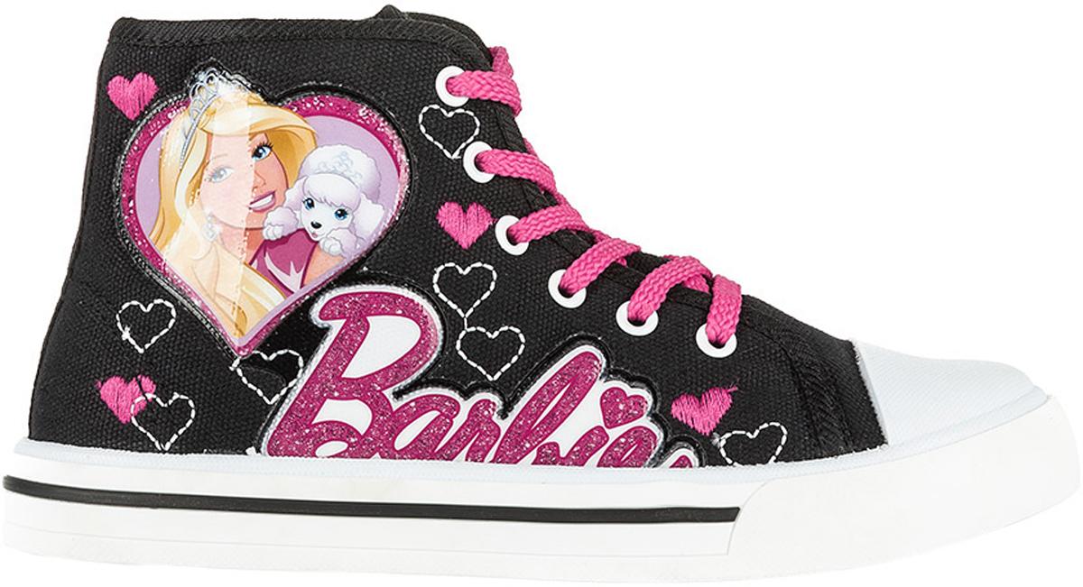 Кеды для девочки Kakadu Barbie, цвет: черный, розовый. 6176A. Размер 276176AСтильные высокие кеды Barbie от Kakadu - отличный выбор для юной модницы. Модель выполнена из плотного дышащего текстиля. Кеды оформлены нашивками с изображением Барби и надписью Barbie, а также вышитыми сердечками. Классическая шнуровка надежно фиксирует обувь на ноге, а застежка-молния облегчает обувание. Внутренняя поверхность из мягкого хлопка создает комфорт при движении. Кожаная стелька удобна в эксплуатации и долговечна. Мягкая резиновая подошва имеет отличную амортизацию, благодаря чему снижается нагрузка на суставы и позвоночник. Рифление на подошве гарантирует отличное сцепление с любыми поверхностями. Модные и удобные кеды займут достойное место в гардеробе каждого ребенка.