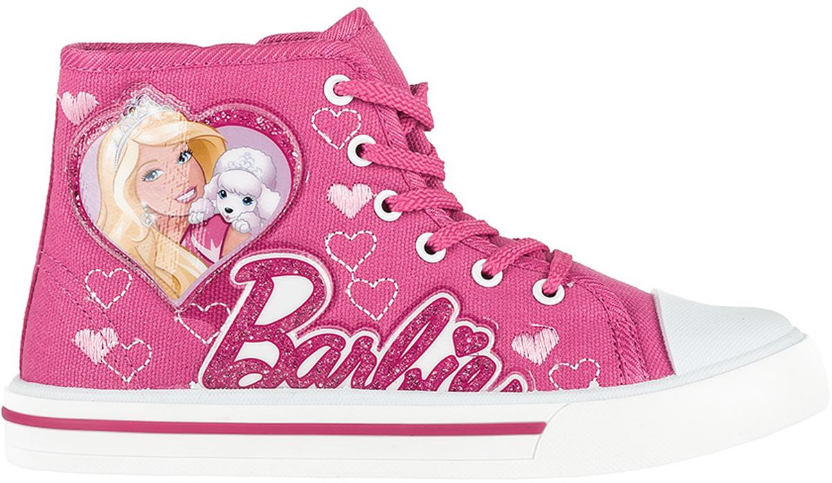 Кеды для девочки Kakadu Barbie, цвет: фуксия. 6176B. Размер 276176BСтильные высокие кеды Barbie от Kakadu - отличный выбор для юной модницы. Модель выполнена из плотного дышащего текстиля. Кеды оформлены нашивками с изображением Барби и надписью Barbie, а также вышитыми сердечками. Классическая шнуровка надежно фиксирует обувь на ноге, а застежка-молния облегчает обувание. Внутренняя поверхность из мягкого хлопка создает комфорт при движении. Кожаная стелька удобна в эксплуатации и долговечна. Мягкая резиновая подошва имеет отличную амортизацию, благодаря чему снижается нагрузка на суставы и позвоночник. Рифление на подошве гарантирует отличное сцепление с любыми поверхностями. Модные и удобные кеды займут достойное место в гардеробе каждого ребенка.
