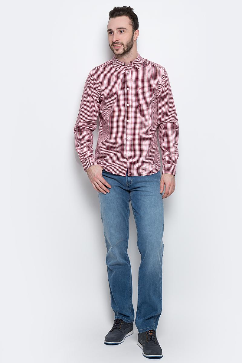 Рубашка мужская Wrangler L/S 1 PKT Shirt, цвет: красный, белый. W5760L447. Размер M (48)W5760L447Стильная мужская рубашка Wrangler L/S 1 PKT Shirt изготовлена из натурального хлопка. Модель с отложным воротником и длинными рукавами застегивается спереди на пуговицы. Манжеты на рукавах также оснащены застежками-пуговицами.Дополнена рубашка накладным карманом на груди и оформлена принтом в клетку.