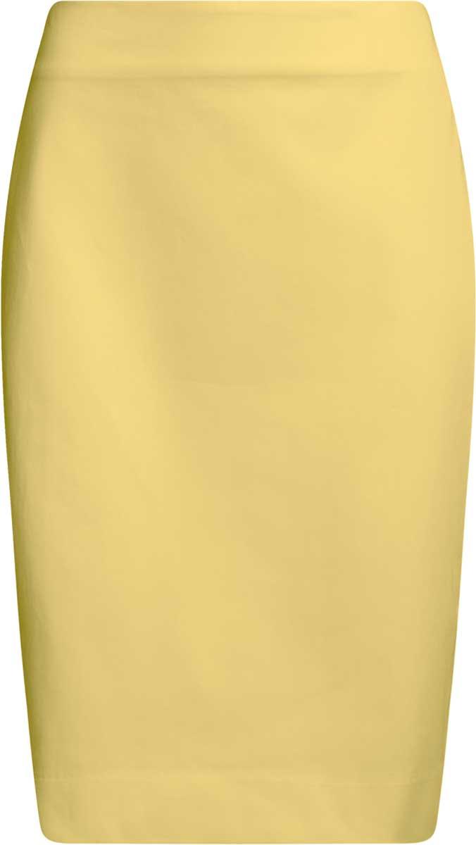 Юбка oodji Collection, цвет: светло-желтый. 21608006-4B/42307/5000N. Размер 38-170 (44-170)21608006-4B/42307/5000NСтильная юбка-карандаш выполнена из эластичного хлопка. Сзади модель застегивается на потайную застежку-молнию и дополнена разрезом.