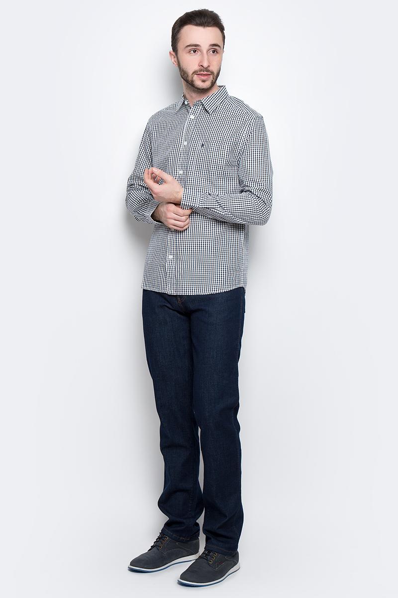 Рубашка мужская Wrangler L/S 1 PKT Shirt, цвет: белый, темно-синий. W5760L435. Размер XXL (54)W5760L435Стильная мужская рубашка Wrangler L/S 1 PKT Shirt изготовлена из натурального хлопка. Модель с отложным воротником и длинными рукавами застегивается спереди на пуговицы. Манжеты на рукавах также оснащены застежками-пуговицами.Дополнена рубашка накладным карманом на груди и оформлена принтом в клетку.