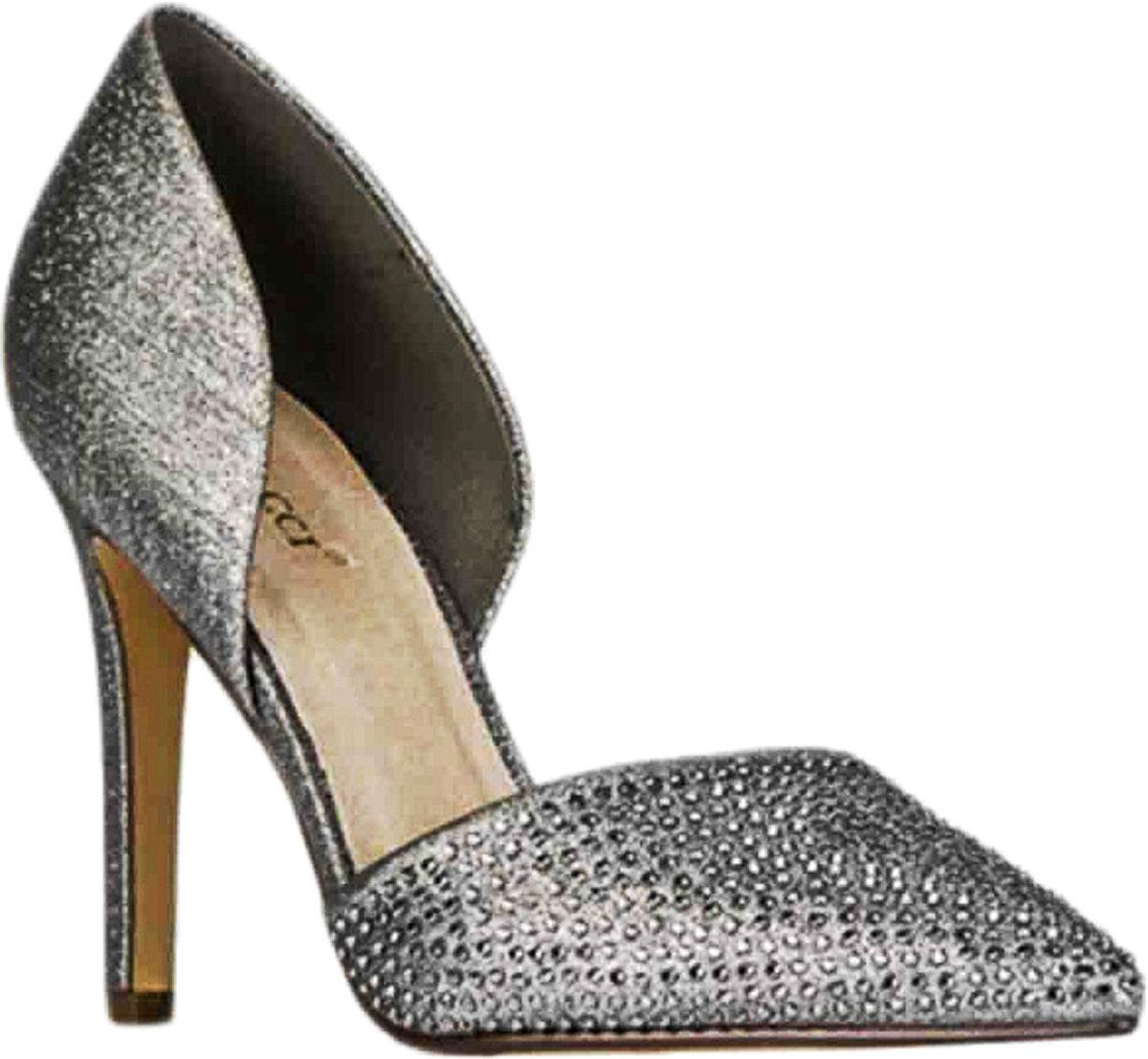 Туфли женские Vitacci, цвет: серебряный. 87018. Размер 3887018Стильные туфли Vitacci не оставят вас незамеченной! Модель выполнена из плотного текстиля и оформлена декоративными вкраплениями. Стелька из натуральной кожи обеспечивает комфорт и удобство при ходьбе. Подошва выполнена с высоким каблуком.