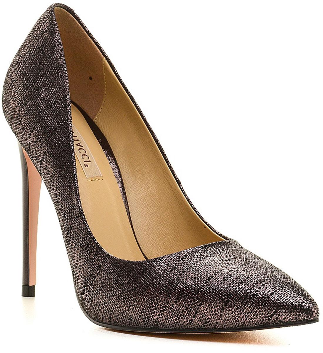 Туфли женские Vitacci, цвет: серый. 49097. Размер 3549097Стильные туфли Vitacci не оставят вас незамеченной! Модель выполнена из качественной натуральной кожи. Стелька из натуральной кожи обеспечивает комфорт и удобство при ходьбе. Подошва выполнена с высоким тонким каблуком.