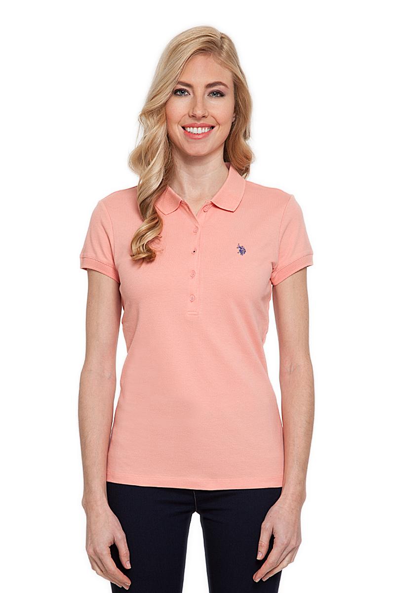 Поло женское U.S. Polo Assn., цвет: оранжевый. G082CS011P26TP01IY4. Размер S (44)G082CS011P26TP01IY4Стильная футболка-поло с короткими рукавами и отложным воротником выполнена из натурального эластичного хлопка. На груди модель застегивается на пуговицы.