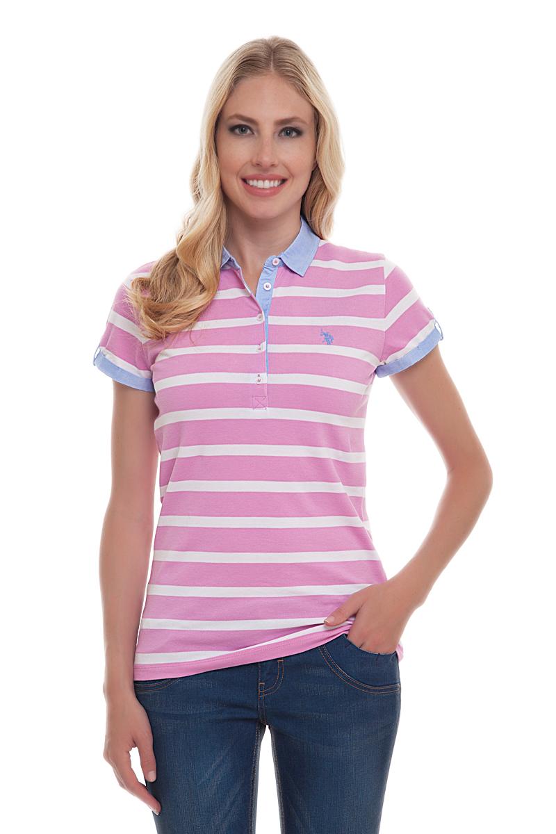 Поло женское U.S. Polo Assn., цвет: розовый, белый. G082CS011P26Y4025. Размер XS (42)G082CS011P26Y4025Стильная футболка-поло с короткими рукавами и отложным воротником выполнена из натурального эластичного хлопка. На груди модель застегивается на пуговицы.