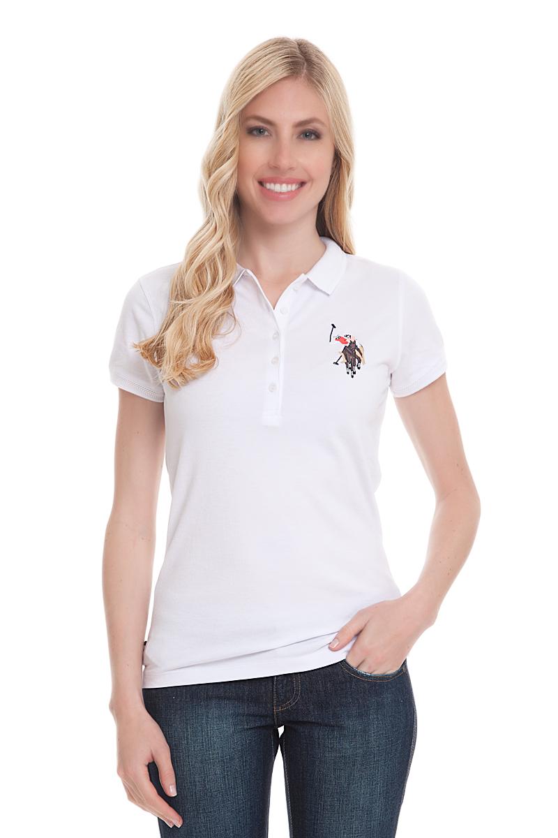 Поло женское U.S. Polo Assn., цвет: белый. G082CS011U02TP15IY4. Размер XL (50)G082CS011U02TP15IY4Стильная футболка-поло с короткими рукавами и отложным воротником выполнена из высококачественного материала. На груди модель застегивается на пуговицы.