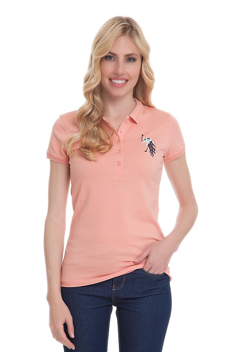 Поло женское U.S. Polo Assn., цвет: оранжевый. G082CS011U02TP15IY4. Размер M (46)G082CS011U02TP15IY4Стильная футболка-поло с короткими рукавами и отложным воротником выполнена из высококачественного материала. На груди модель застегивается на пуговицы.