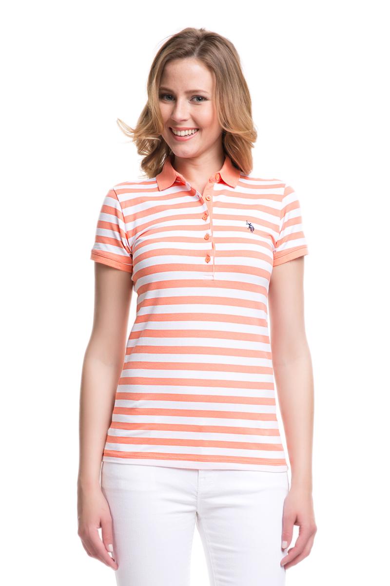 Поло женское U.S. Polo Assn., цвет: оранжевый, белый. G082GL0110GABBIANO. Размер XL (50)G082GL0110GABBIANOСтильная футболка-поло с короткими рукавами и отложным воротником выполнена из натурального эластичного хлопка. На груди модель застегивается на пуговицы.