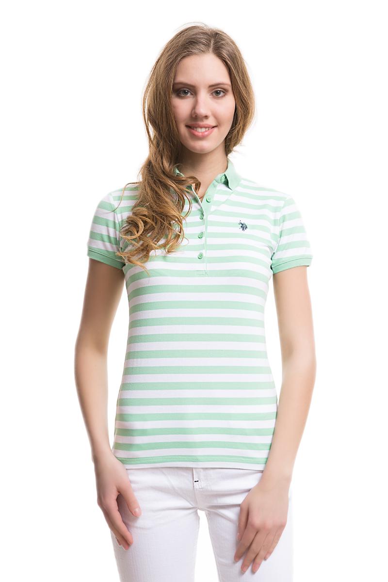 Поло женское U.S. Polo Assn., цвет: зеленый, белый. G082GL0110GABBIANO. Размер M (46)G082GL0110GABBIANOСтильная футболка-поло с короткими рукавами и отложным воротником выполнена из натурального эластичного хлопка. На груди модель застегивается на пуговицы.