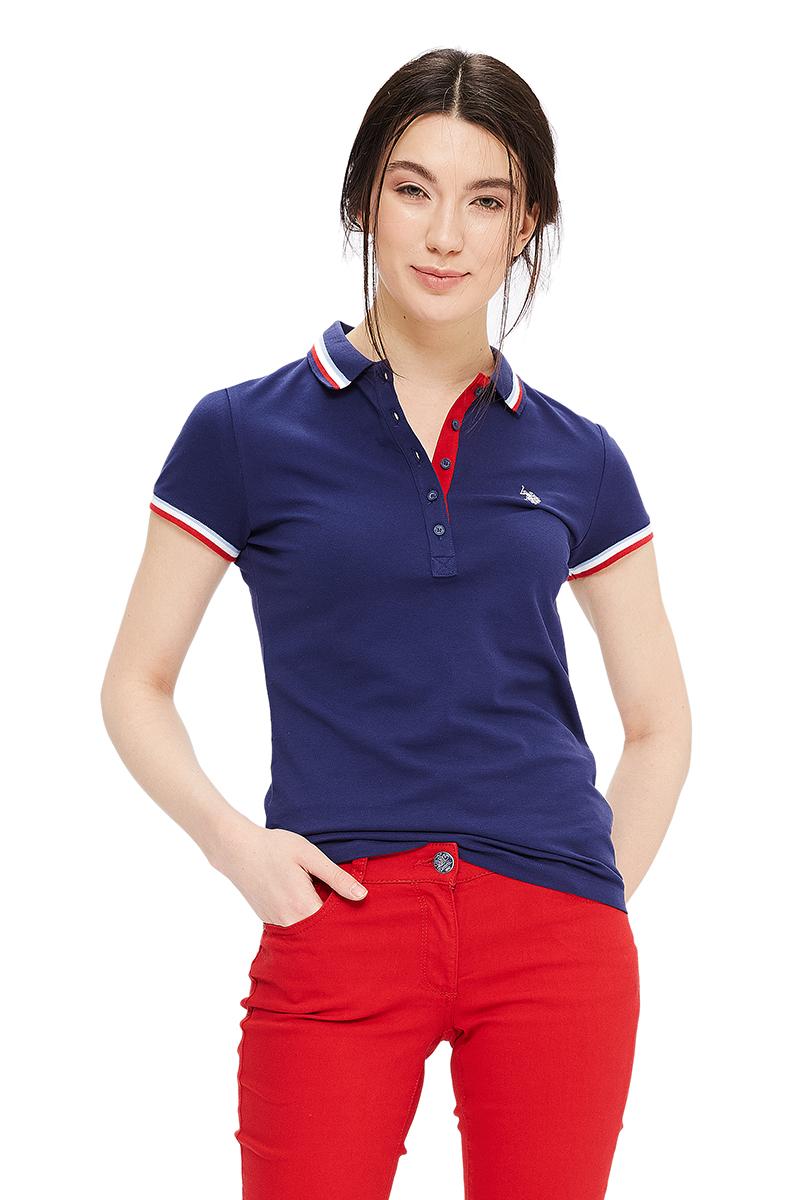 Поло женское U.S. Polo Assn., цвет: темно-синий. G082GL0110GLORIA-IY06. Размер L (48)G082GL0110GLORIA-IY06Стильная футболка-поло с короткими рукавами и отложным воротником выполнена из натурального эластичного хлопка. На груди модель застегивается на пуговицы.