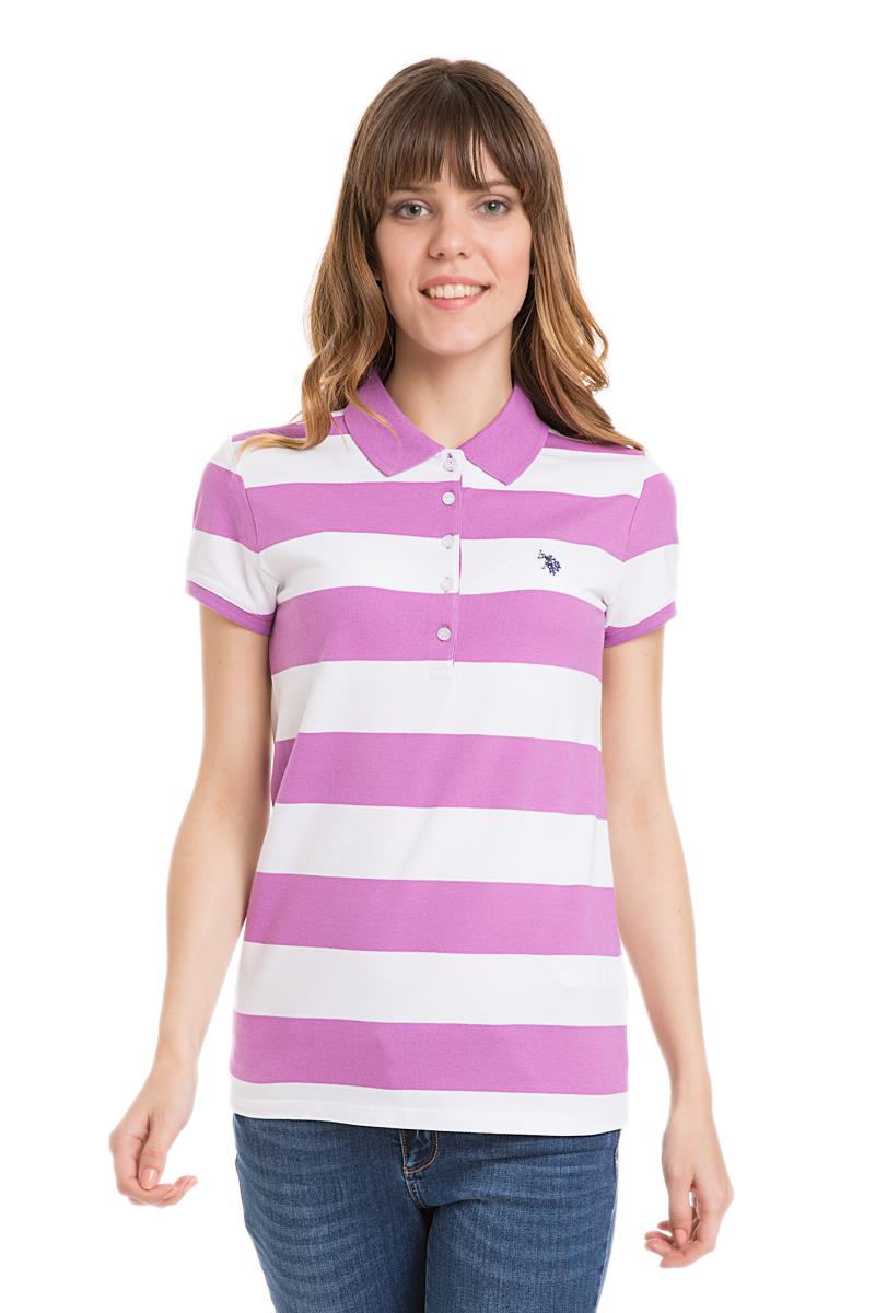 Поло женское U.S. Polo Assn., цвет: лиловый, белый. G082GL0110GUNDA-IY06. Размер L (48)G082GL0110GUNDA-IY06Стильная футболка-поло с короткими рукавами и отложным воротником выполнена из натурального эластичного хлопка. На груди модель застегивается на пуговицы.