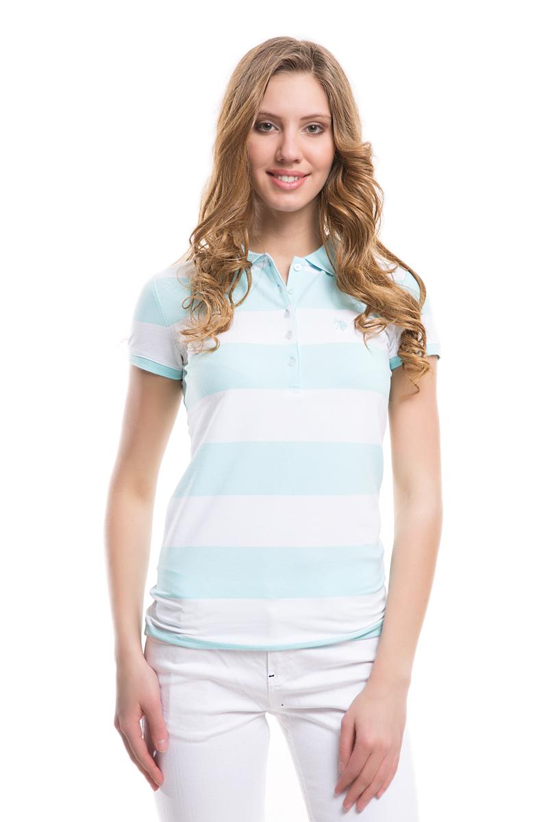 Поло женское U.S. Polo Assn., цвет: мятный, белый. G082GL0110GUNDA. Размер XL (50)G082GL0110GUNDAСтильная футболка-поло с короткими рукавами и отложным воротником выполнена из натурального эластичного хлопка. На груди модель застегивается на пуговицы.