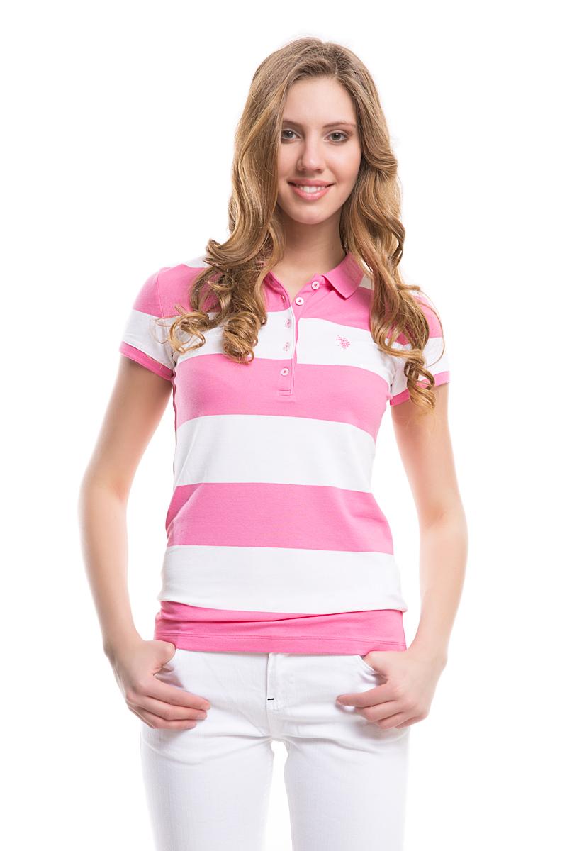 Поло женское U.S. Polo Assn., цвет: розовый, белый. G082GL0110GUNDA. Размер S (44)G082GL0110GUNDAСтильная футболка-поло с короткими рукавами и отложным воротником выполнена из натурального эластичного хлопка. На груди модель застегивается на пуговицы.