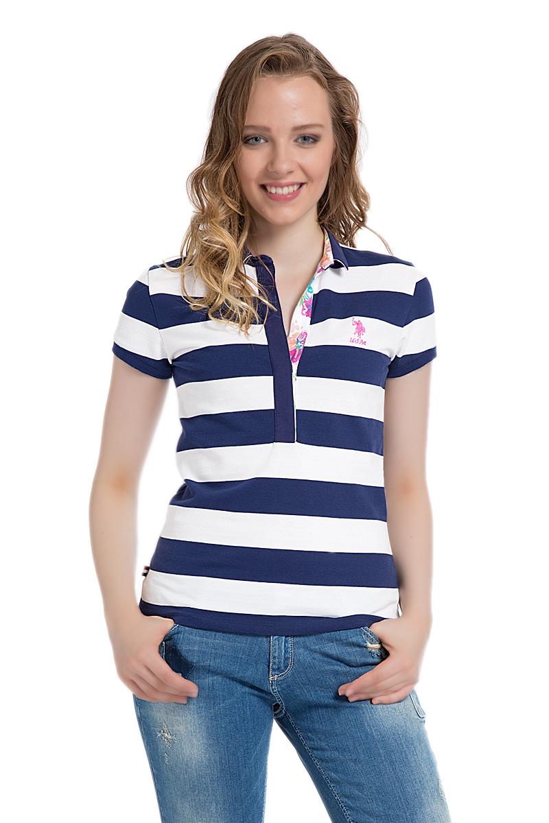 Поло женское U.S. Polo Assn., цвет: темно-синий, белый. G082SZ0110MARLO. Размер XL (50)G082SZ0110MARLOСтильная футболка-поло с короткими рукавами и отложным воротником выполнена из натурального эластичного хлопка. На груди модель застегивается на пуговицы.