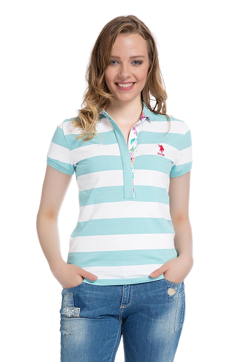 Поло женское U.S. Polo Assn., цвет: мятный, белый. G082SZ0110MARLO. Размер M (46)G082SZ0110MARLOСтильная футболка-поло с короткими рукавами и отложным воротником выполнена из натурального эластичного хлопка. На груди модель застегивается на пуговицы.