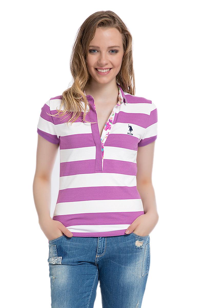 Поло женское U.S. Polo Assn., цвет: лиловый, белый. G082SZ0110MARLO. Размер M (46)G082SZ0110MARLOСтильная футболка-поло с короткими рукавами и отложным воротником выполнена из натурального эластичного хлопка. На груди модель застегивается на пуговицы.