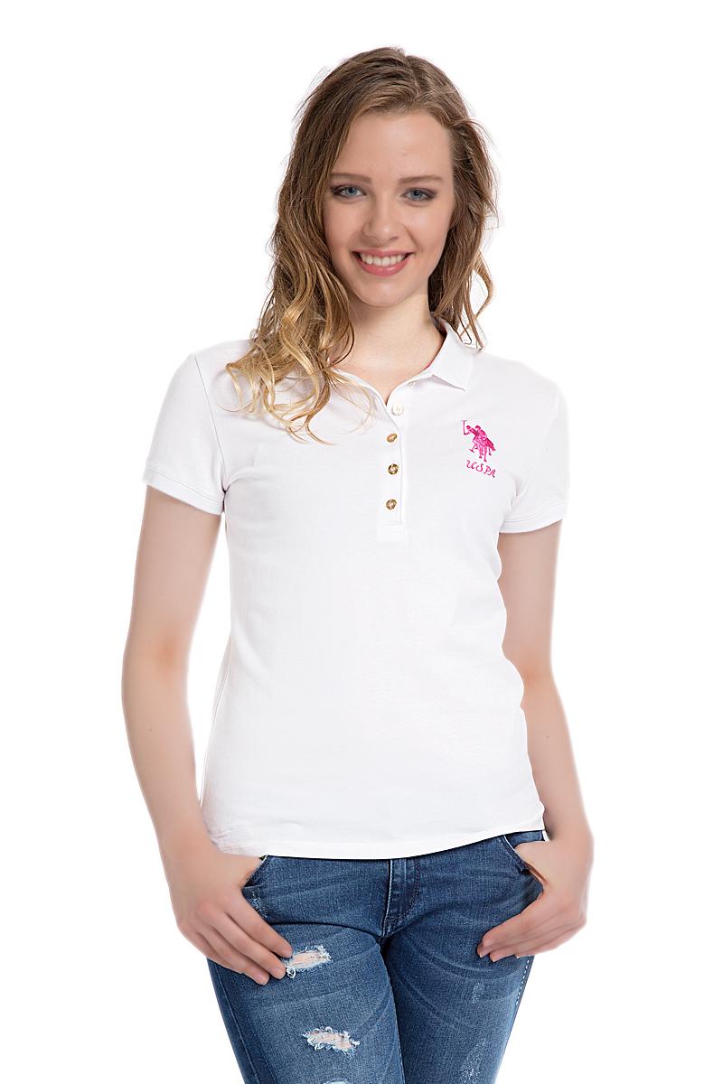 Поло женское U.S. Polo Assn., цвет: белый. G082SZ0110MTS02IY06-011. Размер L (48)G082SZ0110MTS02IY06-011Стильная футболка-поло с короткими рукавами и отложным воротником выполнена из натурального эластичного хлопка. На груди модель застегивается на пуговицы.