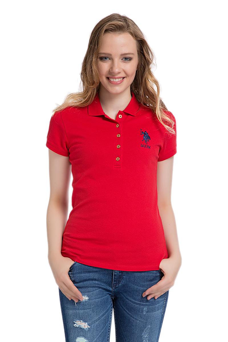 Поло женское U.S. Polo Assn., цвет: красный. G082SZ0110MTS02IY06-011. Размер XL (50)G082SZ0110MTS02IY06-011Стильная футболка-поло с короткими рукавами и отложным воротником выполнена из натурального эластичного хлопка. На груди модель застегивается на пуговицы.