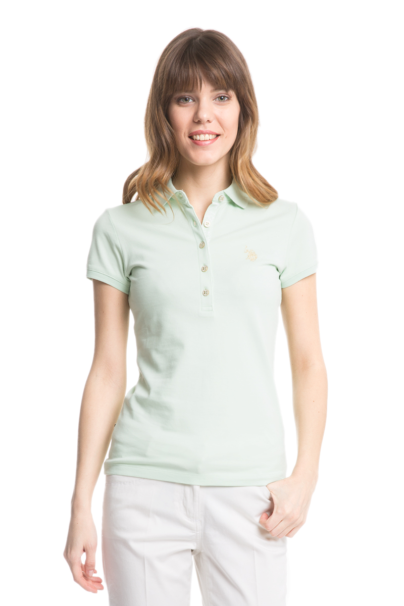 Поло женское U.S. Polo Assn., цвет: бледно-зеленый. G082SZ0110RP01IY05-011. Размер L (48)G082SZ0110RP01IY05-011Стильная футболка-поло с короткими рукавами и отложным воротником выполнена из натурального эластичного хлопка. На груди модель застегивается на пуговицы.
