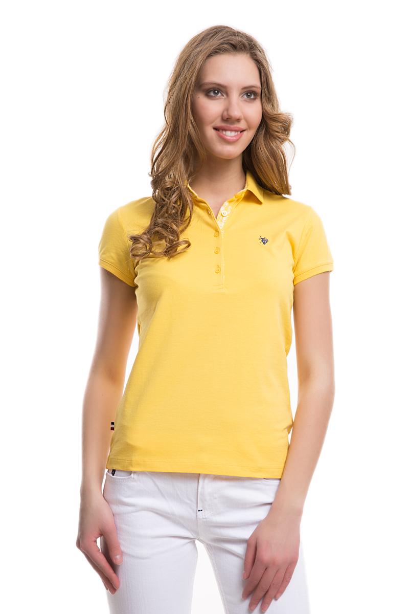 Поло женское U.S. Polo Assn., цвет: желтый. G082SZ0110TP01IY05-011. Размер S (44)G082SZ0110TP01IY05-011Стильная футболка-поло с короткими рукавами и отложным воротником выполнена из натурального эластичного хлопка. На груди модель застегивается на пуговицы.