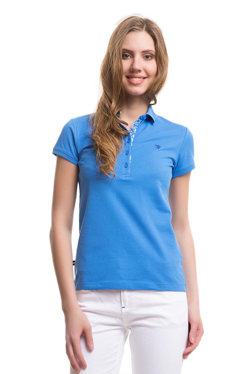 Поло женское U.S. Polo Assn., цвет: голубой. G082SZ0110TP01IY05-011. Размер L (48)G082SZ0110TP01IY05-011Стильная футболка-поло с короткими рукавами и отложным воротником выполнена из натурального эластичного хлопка. На груди модель застегивается на пуговицы.